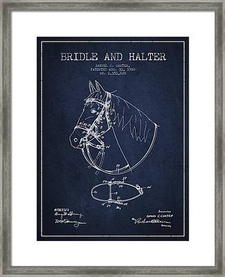 Bridle Halter Patent From 1920 - Navy Blue Framed Print by Aged Pixel