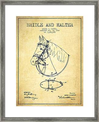 Bridle Halter Patent From 1920 - Vintage Framed Print by Aged Pixel