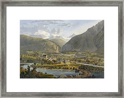 Brig On The Rhone, Bernese Alps Framed Print by Swiss School
