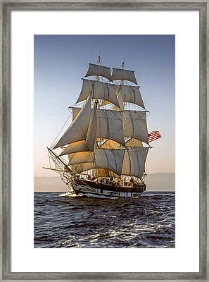 Brig Pilgrim Off Santa Barbara Framed Print by Cliff Wassmann