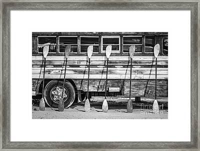 Bright Colored Paddles And Vintage Woodie Surf Bus - Florida - Black And White Framed Print by Ian Monk