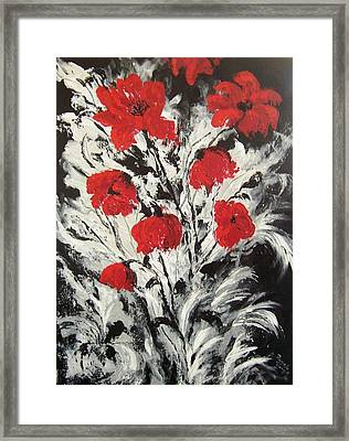 Bright Red Poppies Framed Print by Renate Voigt