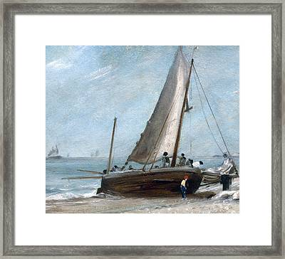 Brighton Beach With Fishing Boats Framed Print by John Constable