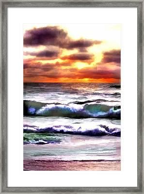 Brilliant Nags Head Sunrise Framed Print by Elaine Plesser