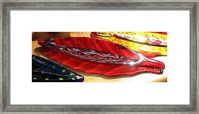 Brilliant Red Feather Glass Dish Framed Print by Donna Spencer