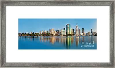 Brisbane City Reflections Framed Print by Az Jackson