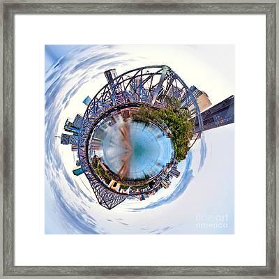 Brisbane Skyline Circagraph Framed Print by Az Jackson
