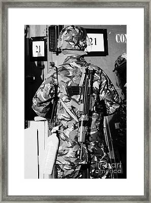 British Army Soldier In Riot Gear With Sa80 And Fire Extinguisher On Crumlin Road At Ardoyne Shops B Framed Print by Joe Fox