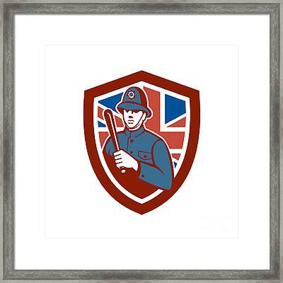 British Bobby Policeman Truncheon Flag Shield Retro Framed Print by Aloysius Patrimonio