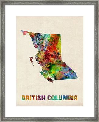 British Columbia Watercolor Map Framed Print by Michael Tompsett