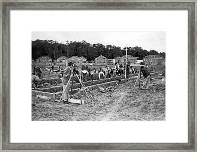 British Construction Scene Framed Print by Underwood Archives