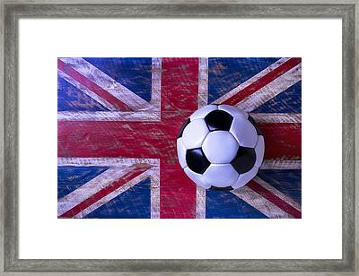 British Flag And Soccer Ball Framed Print by Garry Gay