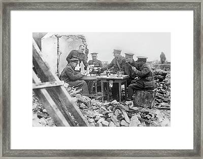 British Officers At Lunch Framed Print by Library Of Congress