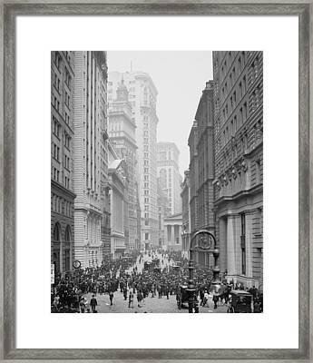 Broad Street, New York City, C.1905 Bw Photo Framed Print by Detroit Publishing Co.