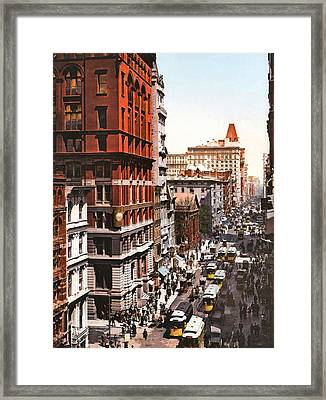 Broadway And Dey Street New York 1900 Framed Print by Unknown