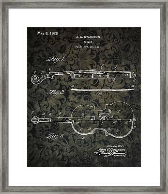 Brocade Violin Patent Framed Print by Dan Sproul