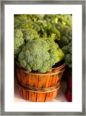 Broccoli In Baskets Framed Print by Teri Virbickis
