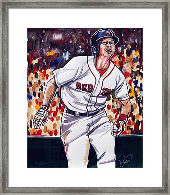 Brock Holt Of The Boston Red Sox Framed Print by Dave Olsen