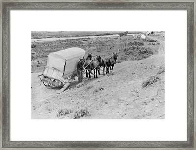 Broken Down Wagon On Prairie Framed Print by Underwood Archives