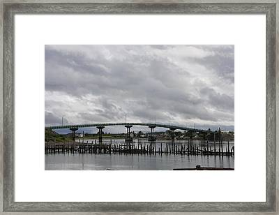 Broken Jetty And Franklin Roosevelt Memorial Bridge   Framed Print by Christiane Schulze Art And Photography
