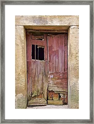 Broken Red Wood Door Framed Print by David Letts