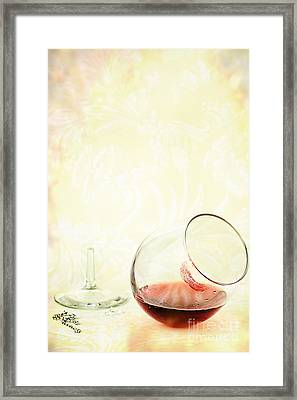 Broken Wine Glass Framed Print by Stephanie Frey