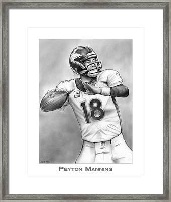 Broncos Peyton Manning Framed Print by Greg Joens