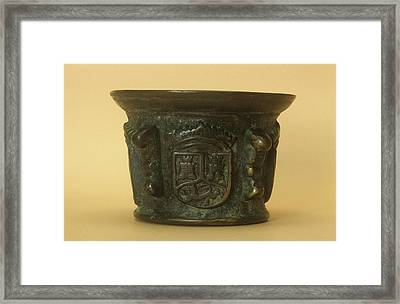 Bronze Mortar Framed Print by Science Photo Library