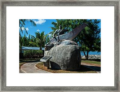 Bronze Statue Of A Chamorro Chief Framed Print by Michael Runkel