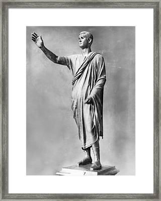 Bronze Statue Of the Orator Framed Print by Underwood Archives