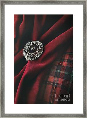 Brooch With Red Velvet And Green Plaid Framed Print by Sandra Cunningham
