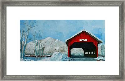 Brookdale Bridge Vermont Stowe Winter Scene Framed Print by Patricia Awapara