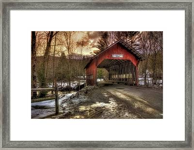 Brookdale Covered Bridge - Stowe Vt Framed Print by Joann Vitali