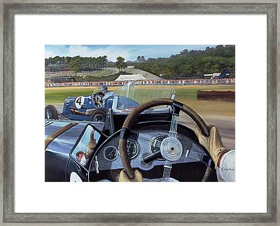Brooklands - From The Hot Seat Framed Print by Richard Wheatland