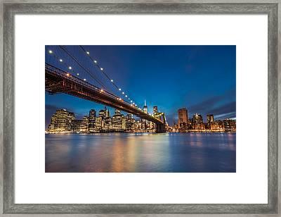 Brooklyn Bridge - Manhattan Skyline Framed Print by Larry Marshall