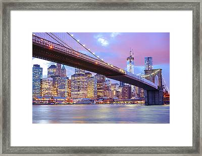 Brooklyn Bridge And New York City Skyscrapers Framed Print by Vivienne Gucwa