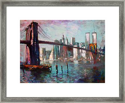 Brooklyn Bridge And Twin Towers Framed Print by Ylli Haruni