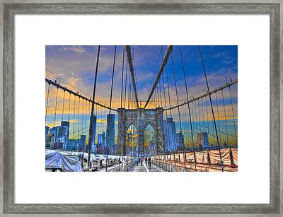 Brooklyn Bridge At Dusk Framed Print by Randy Aveille