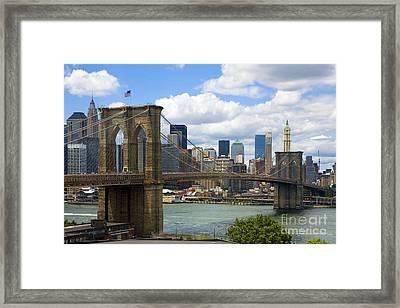 Brooklyn Bridge Framed Print by Diane Diederich