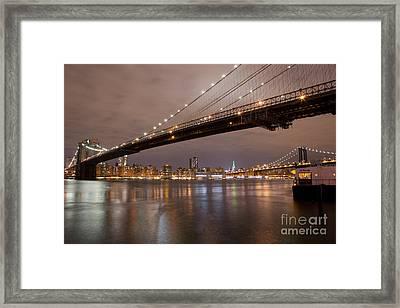 Brooklyn Bridge Lights Framed Print by Leslie Leda