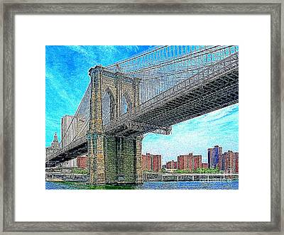 Brooklyn Bridge New York 20130426 Framed Print by Wingsdomain Art and Photography
