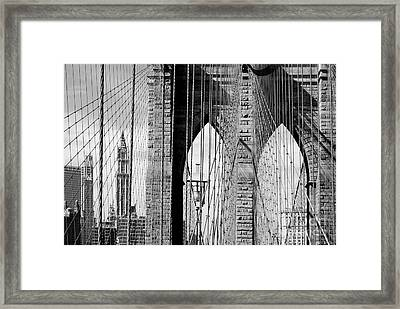 Brooklyn Bridge New York City Usa Framed Print by Sabine Jacobs