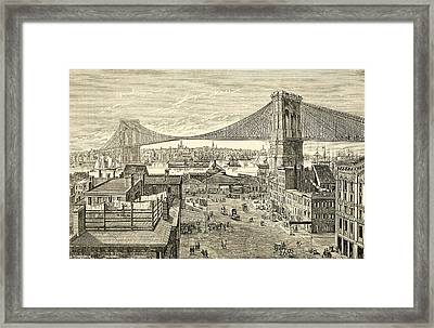 Brooklyn Bridge, New York, United States Of America In The 19th Century Framed Print by American School