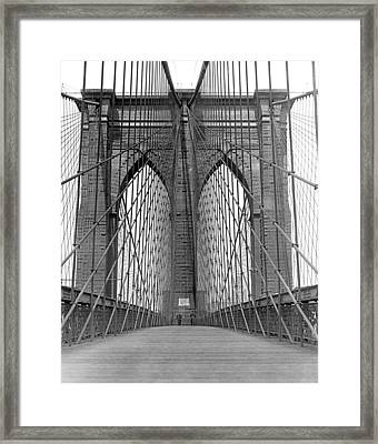 Brooklyn Bridge Promenade Framed Print by Underwood Archives