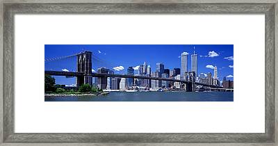 Brooklyn Bridge Skyline New York City Framed Print by Panoramic Images