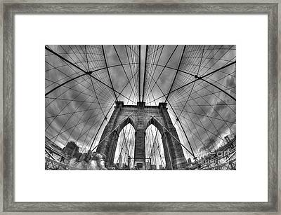 Brooklyn Bridge Symmetry Framed Print by Mark Ayzenberg