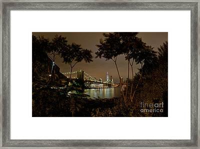 Brooklyn Bridge Through The Brushes Framed Print by Mark Ayzenberg