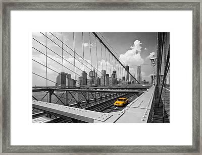 Brooklyn Bridge View Nyc Framed Print by Melanie Viola
