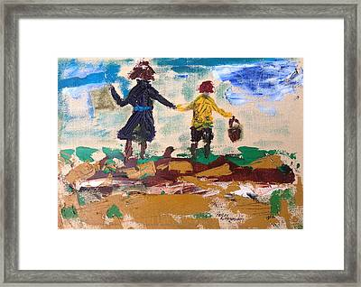 Brother And Sister Playing In The Field. Framed Print by Roger Cummiskey