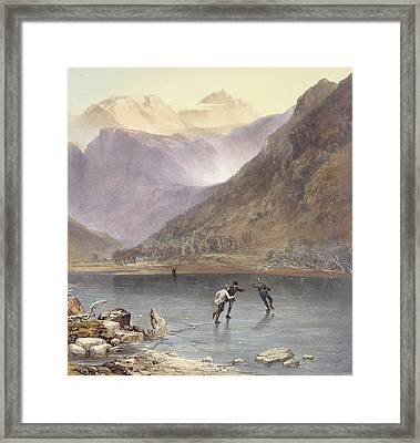 Brothers Water, Detail Of Ice Skaters Framed Print by James Baker Pyne